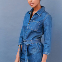 BDG Denim Zip-Front Coverall Romper | Urban Outfitters