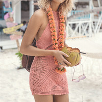 Solid Color Halter Sleeveless Backless Knit Bikini Vest Tops Mini Dress
