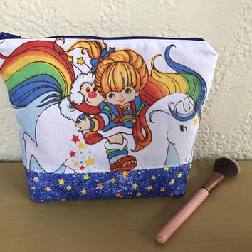 VINTAGE Girls Rainbow Brite 80s Up-cycled Cotton Fabric Gift Makeup Bag Cosmetic Bag Pencil Pouch Starlite Stars Sprite