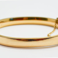 Vintage Mid Century Gold Filled Hinged Bangle Bracelet