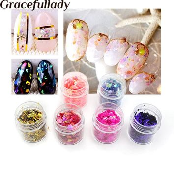 gracefullady 10ml Broken Glass Pieces Foil Tips Nail Art Sticker Manicure Pedicure Decal