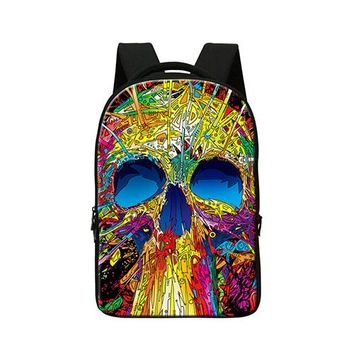 Best College Backpacks Patterns Skull School Bags for Boys High Class Students Bookbags with Laptop Sleeve Large Back Pack Girls - Ivory