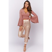 Groovy Times Bell Sleeve Tie Front Top (Dusty Rose)