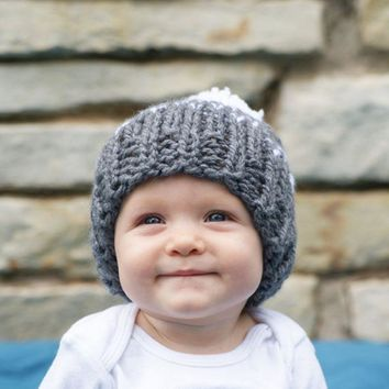 Winter Hats for children knitted Baby Girl Boy Hat&Caps Pompom Warm Baby Hat