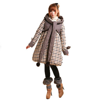 Women Coat 2016 Yuzi.may Casual Coats  Witch Plaid Embroidery A-Line Wadded Jacket Long Hooded Quilted Casacos A1410 Casaco