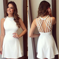 Women white backless o-neck sleeveless dress ERA61DG