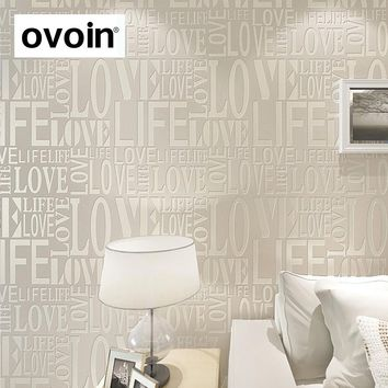 Purple/Gray/Pink/Yellow/White Flock Words Textured Letters Modern Wallpaper Simple Embossed Desktop Wall Paper Wall Covering