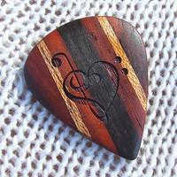 Treble and Bass Clef Heart  - Handmade Laser Engraved - Exotic Woods Guitar Pick