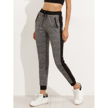 Grey Mid Waist Sporty Sweatpant