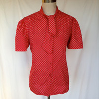 Red and White Vintage Tie Blouse / Judy Bond / Size 18