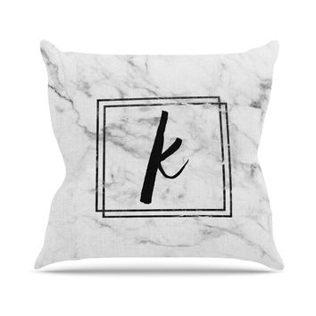"KESS Original ""Gray Marble Monogram"" Outdoor Throw Pillow"