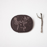 Deer embroidered winter brooch, brown and pale violet totem, christmas gift under 15