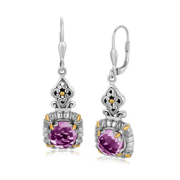 18K Yellow Gold and Sterling Silver Lily Designed Amethyst Dangling Earring