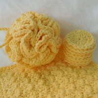 Yellow Spa Bath Gift Set, Crochet Shower Pouf, Cotton Washcloth, Washable Facial Rounds, Housewarming Gift, Mother's Day Gift, Gifts for Her