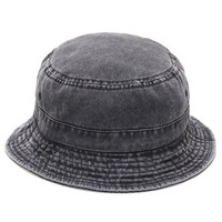 The Hat Depot 300n1505 Pigment Washed Cotton Bucket Hats.13colors (LARGE/X-LARGE, DARK GREY)