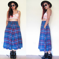 Vintage 90's scotch plaid tartan blue red full swing flare  skirt maxi punk