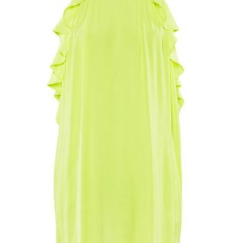 Yellow Plain Falbala Beading Condole Belt Chiffon Dress