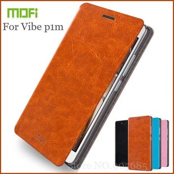 DCCKHY9 New Arrival Mofi For Lenovo Vibe P1M Case Hight Quality Flip Leather Case For Lenovo Vibe P1M Stand Cover