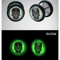Glow in the Dark Sugar Skull Fake Plug Set