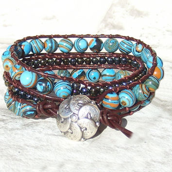 Leather Wrap Bracelet Blue Bohemian Jewelry Southwest Bracelet Brown Wrap Bracelet Leather Jewelry Hippie Wrap Brown Girlfriend Gift