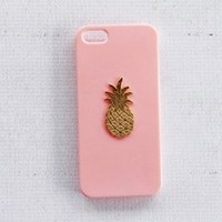 Pink Girly Pineapple iPhone 5 5s Case Screen Cover Protector Plastic Shield Gold Tropical