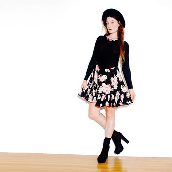 FLORAL 90s DRESS // black thermal top, skater dress, mini dress, 90s grunge, 90s clothing, 90s dress, vintage dress small // size xs small