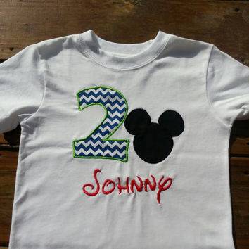 Mickey Mouse Inspired Birthday Number Shirt/ Oneise with Monogram