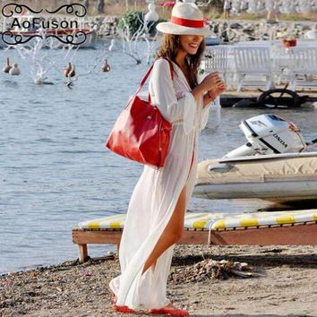 PEAPGC3 Chiffon swimsuit cover up Cardigan white beach dress tunic pareo summer sexy slim Loose long shirt saida de praia