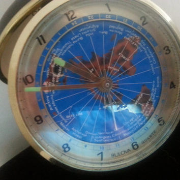 Bulova Travel Alarm Clock * Vintage Working Clock * 1960's 1970's Japan Collectible Blue Map Clock