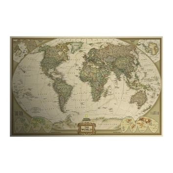 Retro Matte Kraft Paper World Map Antique Poster Wall Sticker