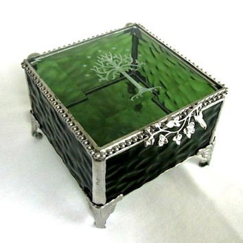 Lord of the Rings, The Hobbit Inspired, Stained Glass Box, Tree of Gondor, Keepsake Box, Gift for Him or Her, Geekery, Valentine Gift