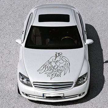 ANIMAL EAGLE BIRD WINGS DESIGN HOOD CAR VINYL STICKER DECALS ART MURALS SV1475