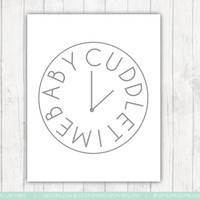Baby Cuddle Time Print_ Clock For Nursery Room_ Neutral Baby Nursery Print_ Gray and White_ Typography Nursery Print_