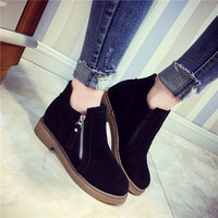 Hot Deal On Sale Korean Winter England Style Round-toe Shoes Boots [8865352204]