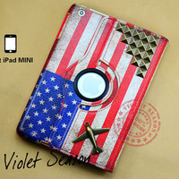 Vintage America flag with bronze studs and Plane ipad mini case , Flags leather ipad mini case , American Studded ipad mini cover