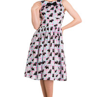 Hell Bunny 60's Mod Scottie Scottish Terrier Pastel Plaid Check Flare Dress