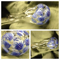 Blue Movement.......Clear Blue White Glass Pipe 3-D LIG