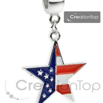 Bead for any Pandora bracelet, dangle bead with a star dangle and American flag stampe