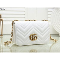 GUCCI tide brand female plaid chain shoulder bag Messenger bag White
