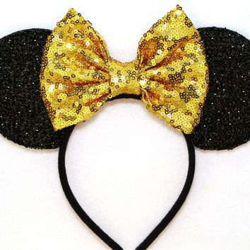 Black Sparkle Mouse Ears with Gold Sequin Bow