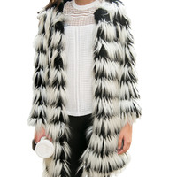 Black and White Long Sleeve Fur Midi Coat