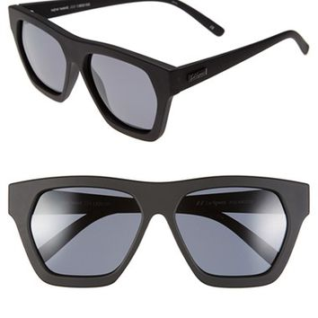 Women's Le Specs 'New Wave' 57mm Polarized Sunglasses - Black Rubber/ Polarized Smoke
