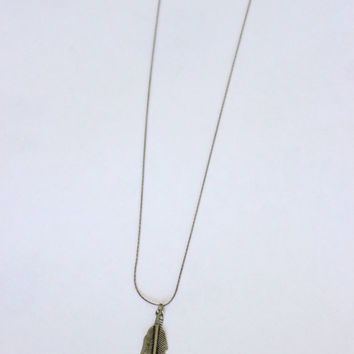 Aged Sterling Silver Feather Necklace
