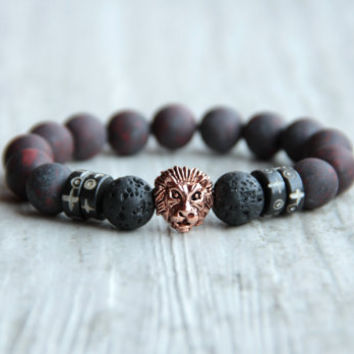 Men lion bracelet Dark red bracelet Matte bracelet Frosted bracelet Jasper Lava beads Stone jewelry Black bracelet Gift for man boyfriend