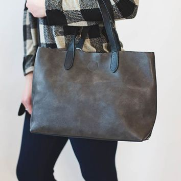 Mariah Medium Tote- Charcoal