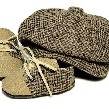 Baby Boy Cap and Shoe Lucas Set in Houndstooth and by pink2blue