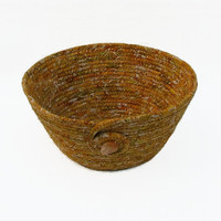 Gold Coiled Fabric Bowl, Basket