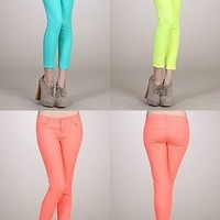 Women Slim Fit Neon Colors Jeggings Ankle SKINNY JEAN Cotton Denim Pants