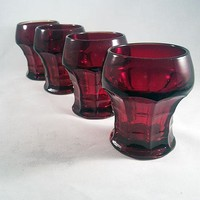 Ruby Red Thick Thumbprint Old Fashioned Glasses