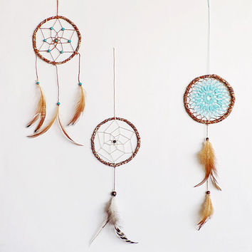 Woodland dreamcatchers, boho dream catcher, three pieces, wall hanging, brown turquoise, home decor, beaded, for collectors, medium, 4'